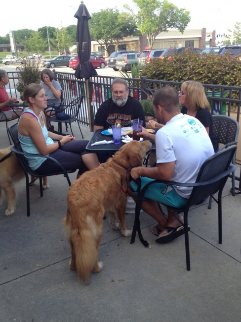 Pups on the Patio - 08 2015 - eating and talking